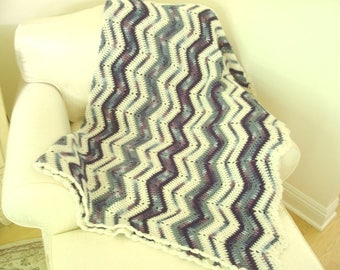 Vintage crocheted afghan, chevron pattern, denim blues, purple chevon on cream acrylic throw, fireside housewarming gift, vintage handmade
