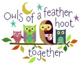 Owls of a Feather Cross Stitch Kit from The Stitching Shed on 14ct Aida, sampler kit, needlework kit, cross stitch,counted cross stitch kit