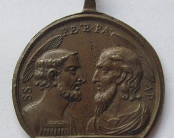 Antique Saints Peter And Paul Religious Medal Holy Door Catholic Pendant Circa 1700 SS233