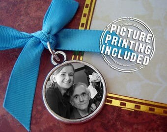 Double Sided Photo Charm Memorial - Silver Round Circle - Includes Two Picture Printing Services