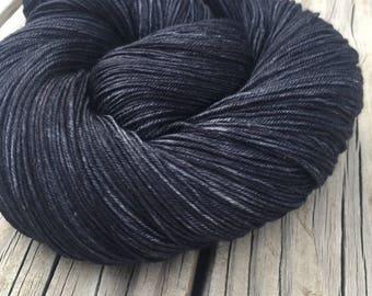 Hand Dyed Sock Yarn Gunpowder Charcoal Gray Black Hand Painted sockyarn 463 yards hand dyed fingering weight swm superwash merino nylon