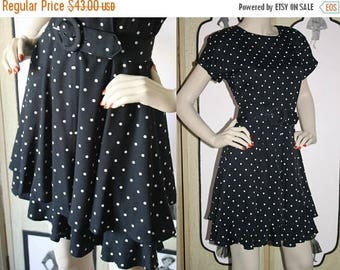 ON SALE Vintage 1980's Tiered Dress in Black and White Polka Dots and Wide Belt. Ms. Choice California. Small Petite.
