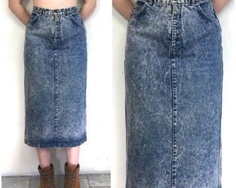 SUMMER SALE 80s Midi Skirt, Denim Midi Skirt, Acid Wash Skirt, Denim Pencil Skirt Jean Skirt, Dark Denim, Long Jean skirt, High Rise Denim X