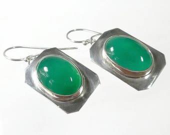 Green Stone Earrings Sterling Silver Artisan Earrings Green Onyx Earrings