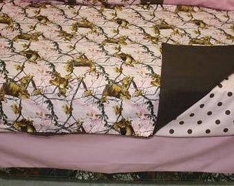 3 Piece set - pink camo crib bedding