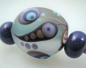 Moogin Beads- Detailed extra large focal lampwork / glass bead set   - SRA
