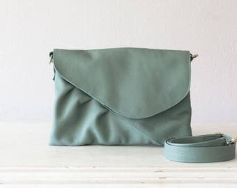 Mint green leather clutch, oversized clutch envelope clutch crossbody bag purse crossover  large clutch - Erato clutch