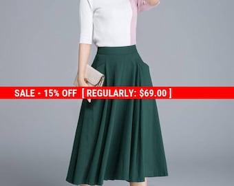 green skirt, linen skirt, pleated skirt, pocket skirt, midi skirt, elastic waist skirt, summer skirt, women's skirt, casual skirt 1687