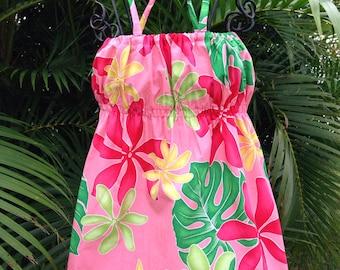 Womens Hawaiian Dress Coral Leilani Handmade