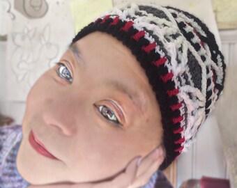 Black & White – colourful overlay crochet beanie, winter beanie, textured beanie, pastel colours