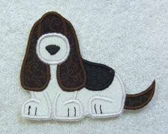 Bassett Hound Dog Fabric Embroidered Iron On Applique Patch Ready to Ship