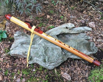 Native American Style Flute, Yellow Pine & Redheart Key of G# from Tree of Life Designs