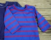 2 BOYS T-SHIRTS, Navy BLUE, Red and Blue Striped, Baby 6/month, Hand Crafted, Hook and Loop Closure, Long Sleeved, Nursery, Doll Clothes