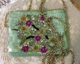 Vintage  Lavender Purple Green Satin Silver Chain Embellished Moyna Ladies Clutch Evening Handbag Purse