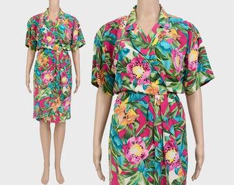 Vintage 80s Silk Dress | Tropical Dress | Floral Midi Dress | Draped Wrap Dress | 1980s Cocktail Dress | Tiger Lily | Small S