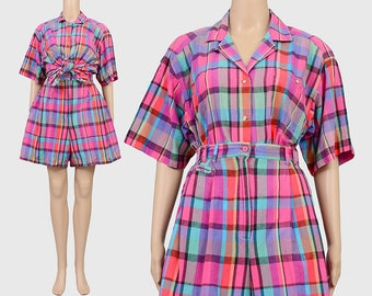Vintage 90s Checkered Plaid Shorts Set | Two Piece Matching Set | Button Up Shirt | High Waisted Pleated Shorts | Preppy Summer | Large L