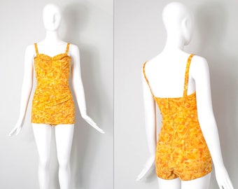 vintage 1950's bathing suit | floral 50s swimsuit | one piece bathing suit | extra-small xs