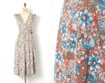vintage 1970s dress | 70s floral print wrap dress | cotton knit (extra small -small xs s)