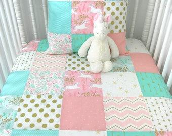 Baby Blanket Nursery Decor Minky Baby Blanket Baby Bedding Unicorn Nursery Baby Quilt Blush Pink Coral Mint Gold White Unicorns Baby Girl