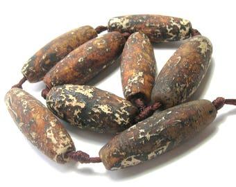 Tibetan (Dzi) Agate Large Ellipsoid Beads - Rust/White -  Matte Molten Pattern (38mm) - Gemstones