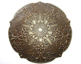 Vintaj Natural Brass Medallion Pendant (47mm)