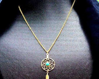 Sun and Sky l -  Gold,Turquoise dream catcher necklace