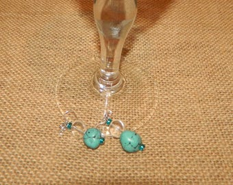 Nugget Earrings, Blue Dangle Earrings