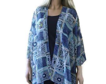 Denim Blue Boho Kimono cardigan-patchwork print kimono-Chiffon Ruana-Many colors