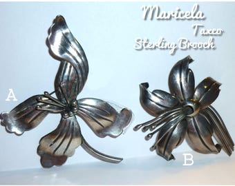 Maricela Silver Flower Brooch SOLD INDIVIDUALLY Taxco 925 Sterling Silver Mexico. Circa 1940s Beautiful Sculptural Lily. Almost Three Inches
