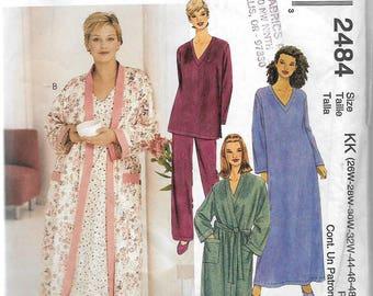 Uncut, Misses Size 26W-32W, Sewing Pattern, McCalls 2484, Woman Style, Sleepwear Robe, Gown, Top, Pants, Loungewear, Full Figure, Nightgown