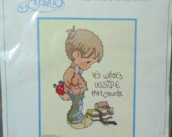 Vintage Precious Moments counted cross stitch kit boy It's What's Inside That Counts