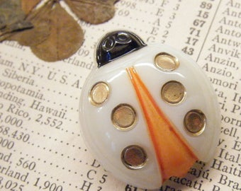Ladybug button, glass button, insect button, goofy realistic, ANIMAL CHARITY DONATION