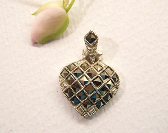 Vintage Heart, Sterling Pendant, Marcasite, Gift of Love, ANIMAL CHARITY DONATION