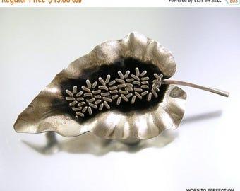 45% off Sale Sterling Silver Leaf Brooch by Jewel Art