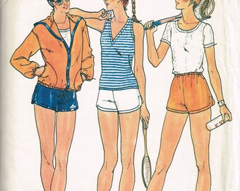 80s Womens Sportswear Pattern Butterick 6534 Bust 34 Ladies Jacket Hoodie Tank Top T Shirt Shorts Vintage 1980s Sewing Pattern