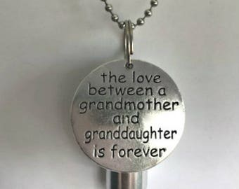 "Personal Cremation Urn ""The Love Between a Grandmother & Granddaughter is Forever""  With Velvet Pouch, 24"" Ball Chain Necklace and Fill Kit"