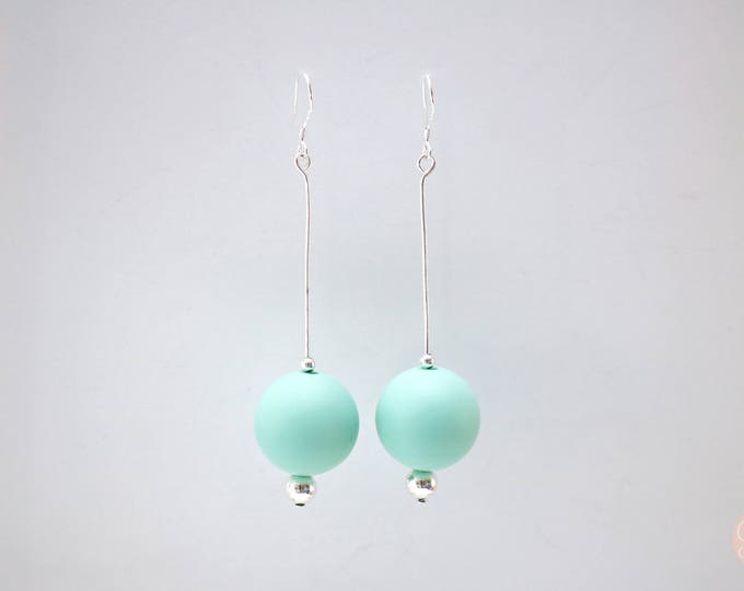 Round Mint Big Drop Earrings.
