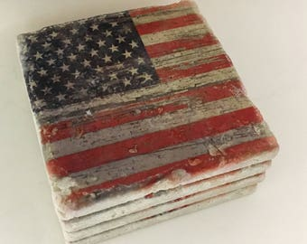 Distressed American Flag Coasters Natural Travertine Tile Tumbled Stone Table Coasters Set of 4 with Full Cork Bottom Rustic Flag