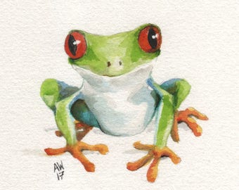 Red-eyed tree frog - original watercolour