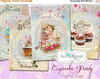 SALE 30%OFF - Cupcake Party Tags - Cakes Tags - Digital ATC Cards - Tags - Download Collage Sheet - Printable Sheet