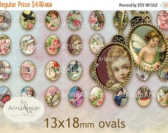 SALE 30%OFF - Shabby Chic Collection no.1 OVALS 13x18mm - digital collage sheet - Ovals for Earrings - Bijoux Ovals - Bijoux Images - Vintag