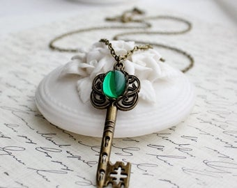 VACATION SALE- Emerald Key Necklace in Antique Brass or Antique Silver - Long