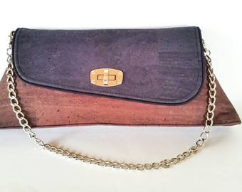 Cork Leather clutch purse with removable chain strap - zipper pocket