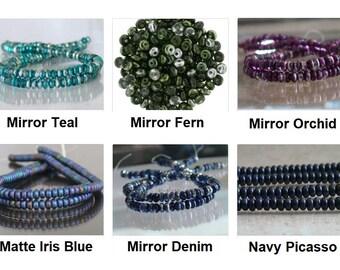 Czech Rondelle Glass Beads 3mm 100 Wafer Disc Ur Pick Picasso Teal Orchid Fern Denim Iris Blue Mirror Matte