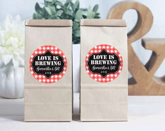 12 Brown Coffee Favor Bags - Kraft Favor Bags - Personalized Favors - Wedding Shower Favors - Coffee Favor - Love Is Brewing - Wedding Favor