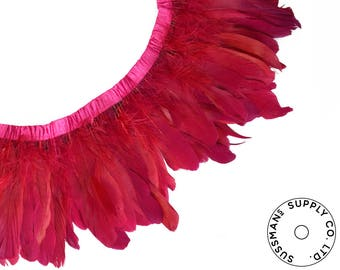 """Feather Trim - Goose Feather Satinette Fringe Trims - Cinnamon Red - 5""""-7"""" (1 yard)"""