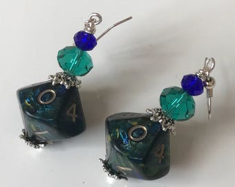 blue green dice D10 dice earrings dice jewelry dungeons and dragons D10 earrings polyhedral dice pathfinder earrings dice D10 mage studio