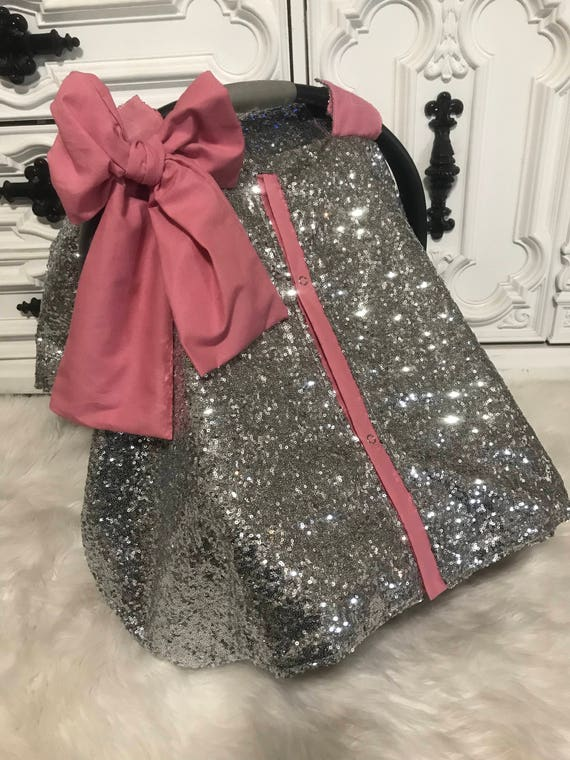 Silver N Blush / car seat canopy / nursing cover / carseat cover / carseat canopy / ooak / sequin / infant car seat cover / silver / sparkle