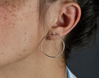High Quality Curved Hoop Post Earrings, Sensitive Ears Sterling Silver Large Hoop Earrings, Circle Posts, 14kt Gold Filled Hoops Jewelry