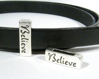25% Off Believe Sliders for 10mm Flat Leather - Antique Silver - Choose Your Quantity